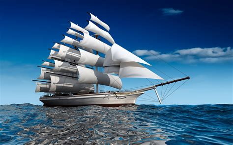Ships Sailing Sea Miscellaneous 3d Graphics Wallpapers And