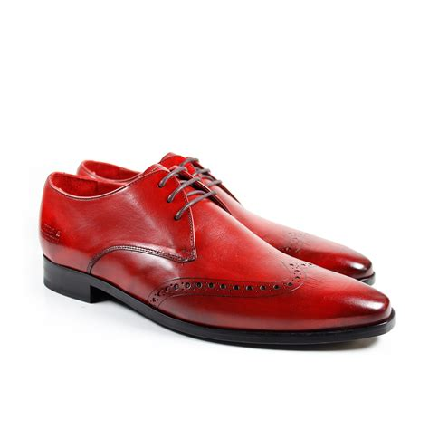 chaussures cuir homme rouge