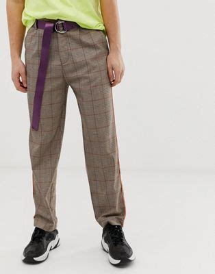 COLLUSION skater pants in brown check with fluro piping | ASOS